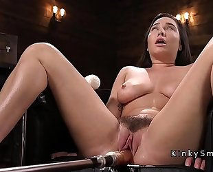 Curved breasty hottie fucking machine and squirting