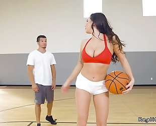 Dude playing basketball with breasty chick