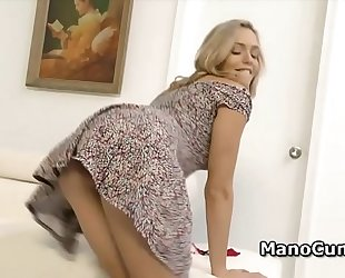 Blonde discloses her twat upskirt and gives pov cook jerking
