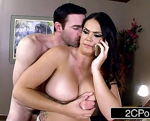 Lovely nympho alison tyler calls spouse whilst giving oral job to her paramour