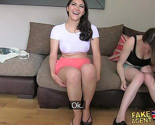 Fakeagentuk 2 cuties cheerful to fuck him for a porn job lezzing up and anal