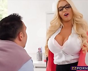 Busty blond real estate agent bonks with her client
