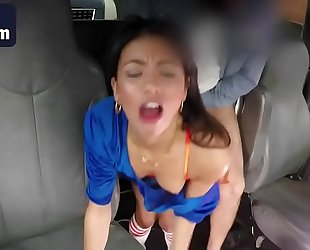 Cheerleader veronica rodriguez acquires drilled in the car