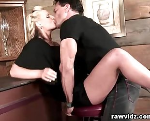 Busty golden-haired hooks up with the hunk bartender