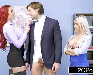 Rachel roxxx and skyla novea share some office dick