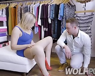 Horny saleswoman blair williams show me her bawdy cleft when i consult prices