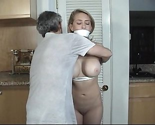 Door to door dirty slut wife tied and gagged part two
