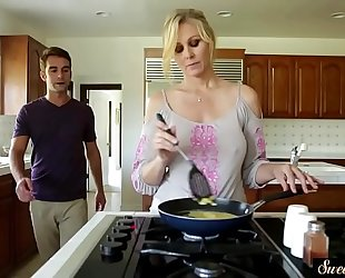 Orally gratified milf group-fucked by her stepson