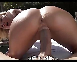Tiny4k golden-haired BBC slut widens wet crack for massive weenie by pool