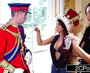 Big tit maid aletta ocean and sexually excited tourist madison ivy engulf british royal schlong