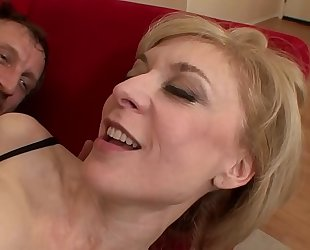 Old milf is fucking a juvenile steward