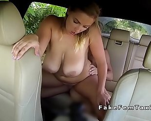 Busty chubby cab driver bangs in public