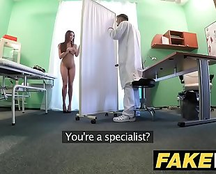 Fake hospital tall brunette hair patient with large natural love melons swallows docs cum