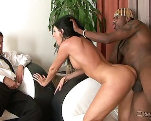 Brunette hotwife can't acquire sufficiently of dark jock