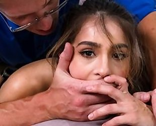 Nice cute young 18 years old teen schoolgirl seduces her teacher to blowjob and hardcore fucking in her house while domestic lesson