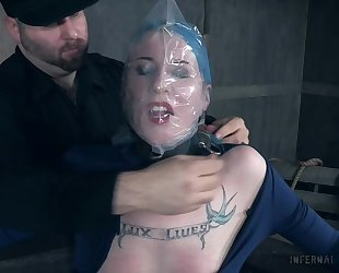Blue-haired vixen with small tits gets totally dominated