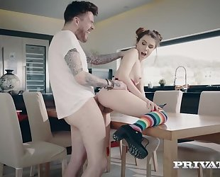 Young cutie in high-knee socks gets sodomized on the table