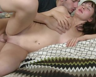 Amateur brunette with natural breasts nailed by her BF