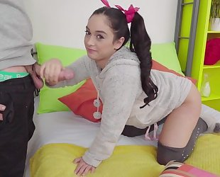 Young cutie in high-knee socks gets nicely fucked in bed