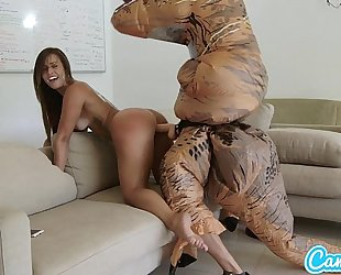 Big arse latin chick legal age teenager chased by lesbo loving trex on a hoverboard then drilled