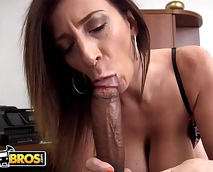 Bangbros - breasty milf sara jay sucks a large dark pecker like the professional that babe is