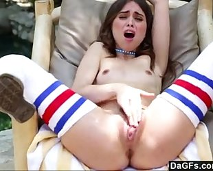 Riley reid playing with her taut legal age teenager twat.
